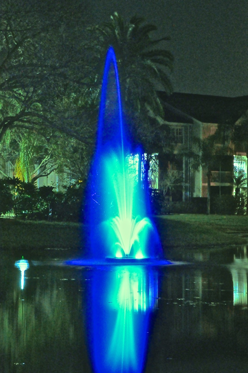 Fountain and LED floodlight